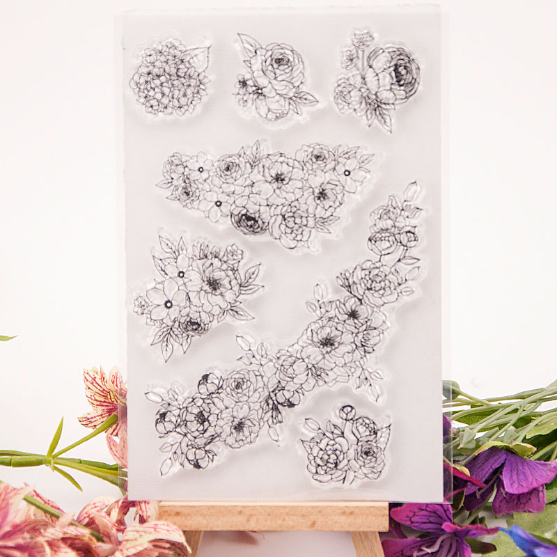 Round Flower Words Transparent Clear Silicone Stamp for Seal DIY Scrapbooking