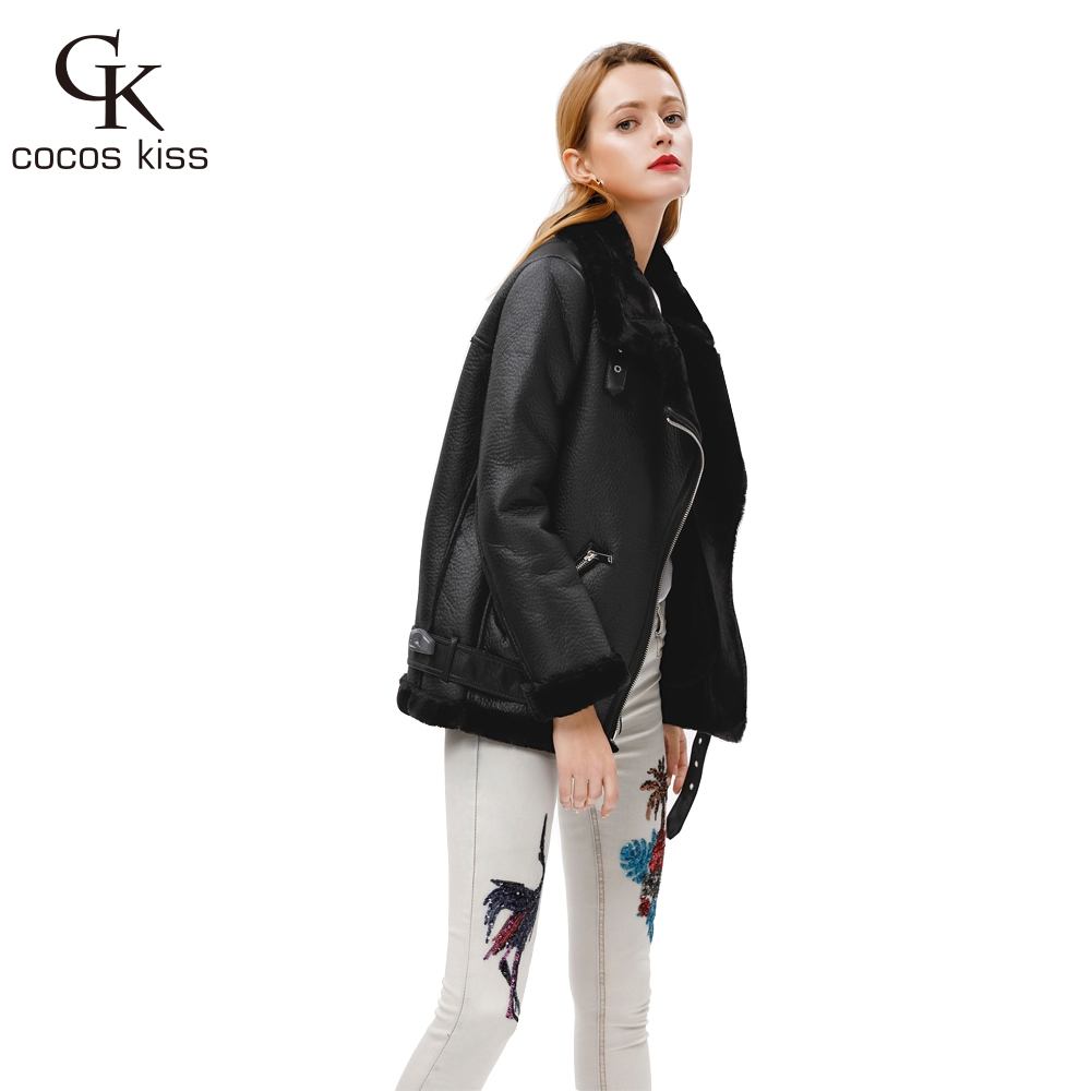 2018 New Winter Fashion High Quality Artificial Fur  Zipper Coat Pockets Warm Couples Sashes  Leather Jackets Woman
