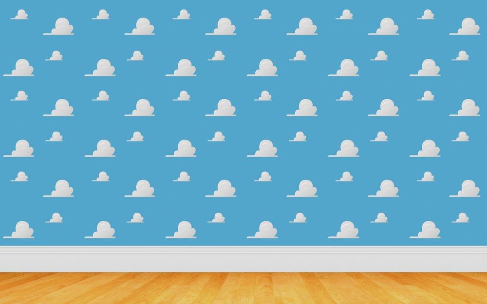 Toys Story Cartoon White Clouds Blue Sky faux rustic wood backdrops Vinyl cloth High quality Computer printed wall backdrop