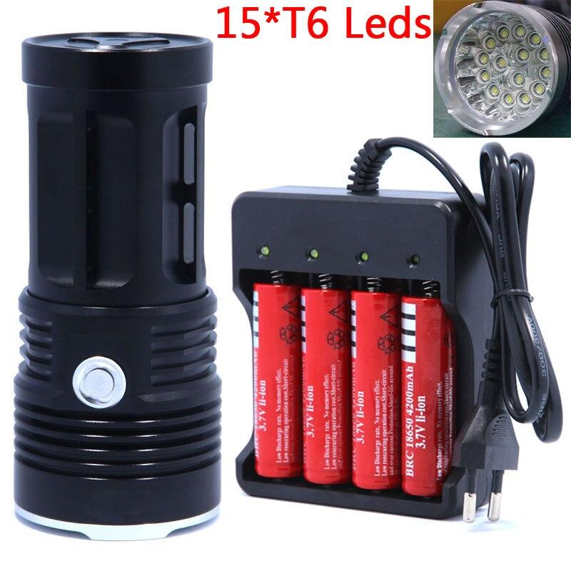 15T6 светодио дный на очень высоком Мощность фонарик T6 фонари водонепроницаемый аккумуляторная факел лагерь свет лампы Охота Используйте 4*...