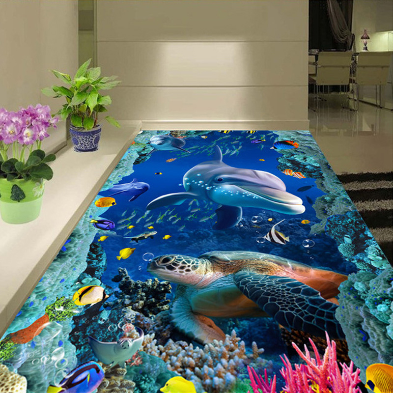 Custom Floor Wallpapers 3D Stereoscopic Dolphin Sea Turtle Bathroom Floor PVC Self-adhesive Mural Wallpaper Papel De Parede 3D