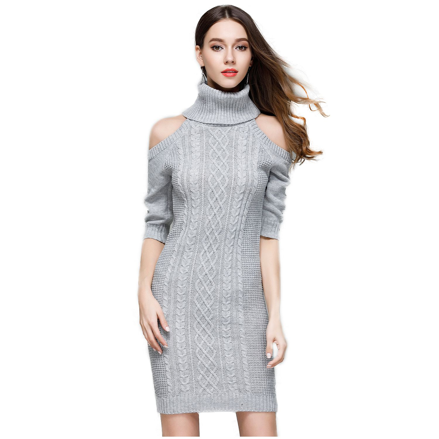 все цены на NEW-Women's New Fashion Knitted Turtleneck Off Shoulder Casual Solid Bodycon Dress Ladies Sexy Dress Spring Autumn Half Sleeve онлайн