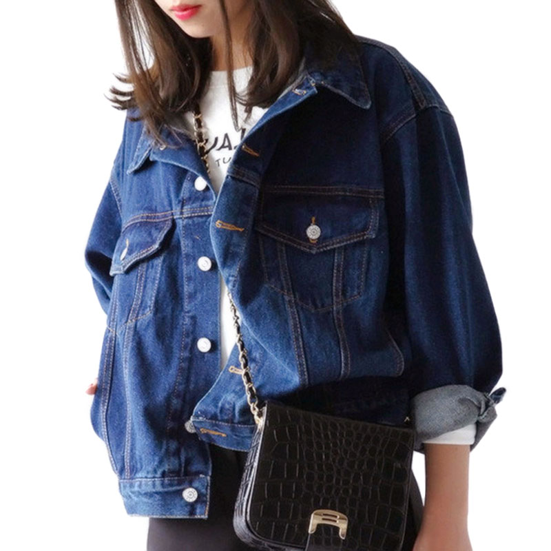 Korean Spring Autumn Women Lady Jeans Coat Long Sleeve Vintage Denim Jacket Loose Casual Coats Girls Outwear H9
