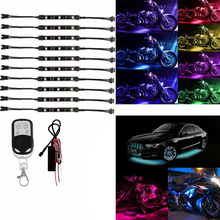 10PCS/SET Colorful Motorcycle RGB LED Atmosphere Light Under Glow Neon Strip Decorative  Lights with Remote Control Kit DC 12V 4pcs set rgb 12led car interior neon atmosphere strip light colorful decorative lamp with music remote control dc 12v