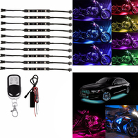10PCS/SET Colorful Motorcycle RGB LED Atmosphere Light Under Glow Neon Strip Decorative Lights with Remote Control Kit DC 12V