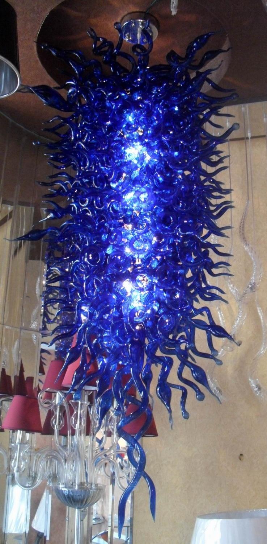 Lampes bleu Cobalt, grandes lampes de luxe en verre soufflé à la main, éclairage de Chandelier