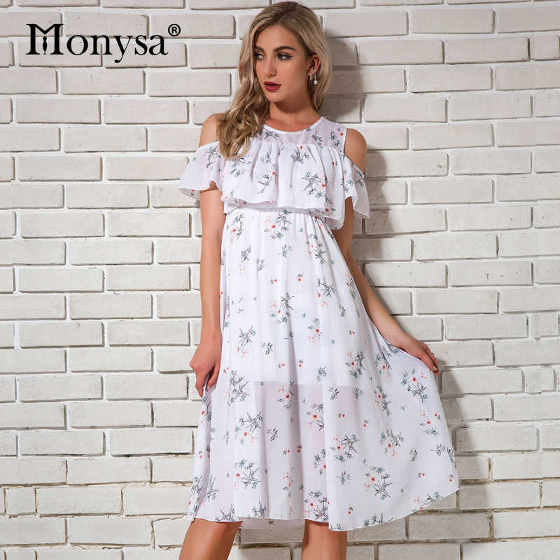 Cold Shoulder Dresses Women Summer 2019 New Short Sleeve Floral Print Chiffon Dresses Women Knee Length Dress Casual Streetwear