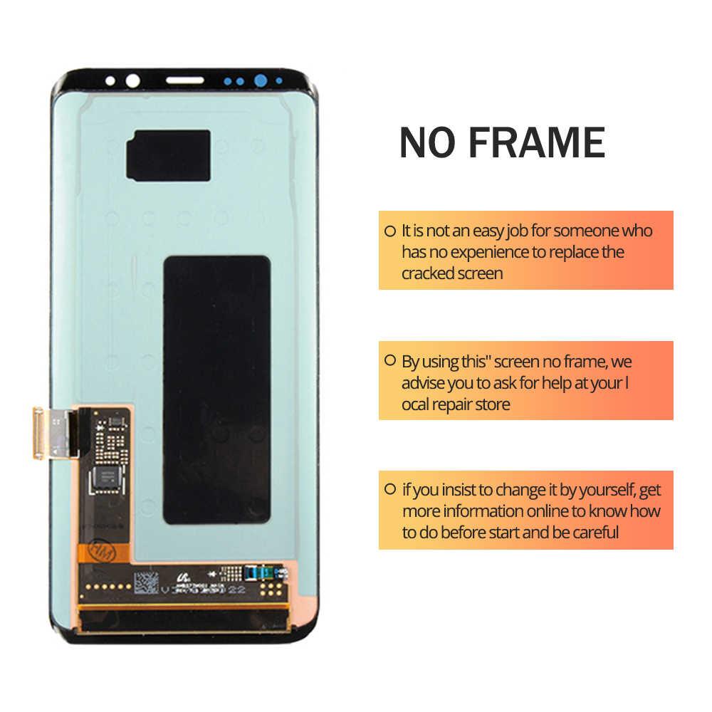 الأصلي S8 LCD مع الإطار لسامسونج غالاكسي S8 G950 G950F عرض S8 زائد G955 G955F محول الأرقام بشاشة تعمل بلمس 100% اختبارها