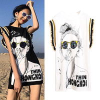 Summer women Long Tees Ladies print casual Glasses Sequined ruffles flare short sleeve streetwear sexy Tops Tees T Shirts NS896