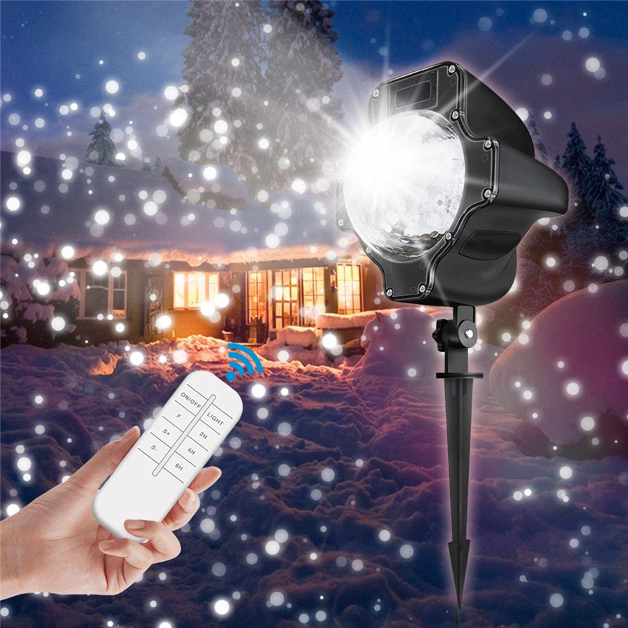 Outdoor Snowfall Christmas Projector Lamps Displays Projector Xmas Halloween Party Wedding Garden Snowflake Projector Lawn Lamps christmas heart snowflake halloween spider bowknot projector lights led stage lamps
