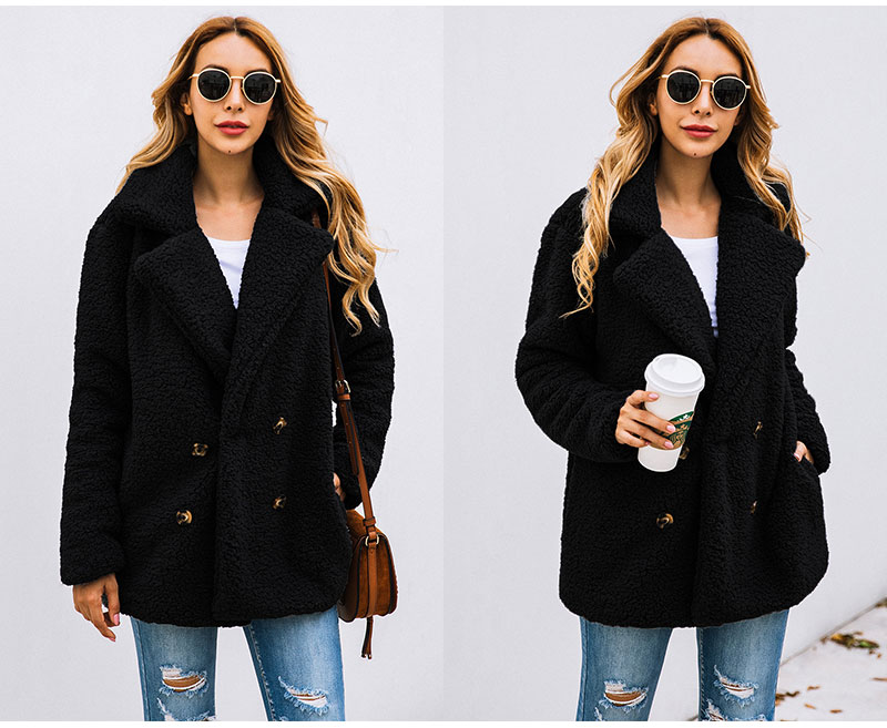 HTB1oI1Cbbr1gK0jSZFDq6z9yVXae Lossky Women Long Sleeve Autumn Winter Thick Warm Jacket Coats Plus Size Loose Button Pocket Pink Lady Plush Flannel Overcoat