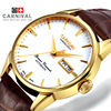 Carnival 100m Waterproof Fashion Watch Men Stainless Steel Sapphire Automatic Mechanical Brown Leather Watch Relogio Masculine
