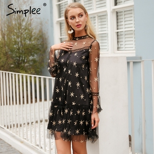 Image 2 - Simplee メッシュスタープリント透明レースのドレスの女性中空アウト長袖サマードレスストリートショートカジュアルドレス vestidos