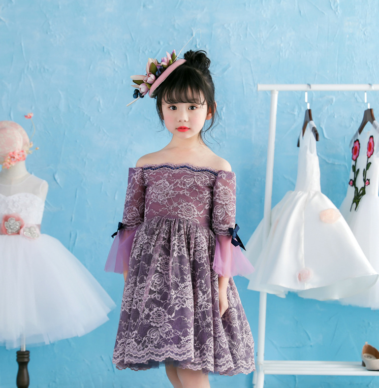 lace Girls dresses summer sleeveless princess retail shining baby kids party tutu clothes  1BC506DS-36R [Eleven Story]