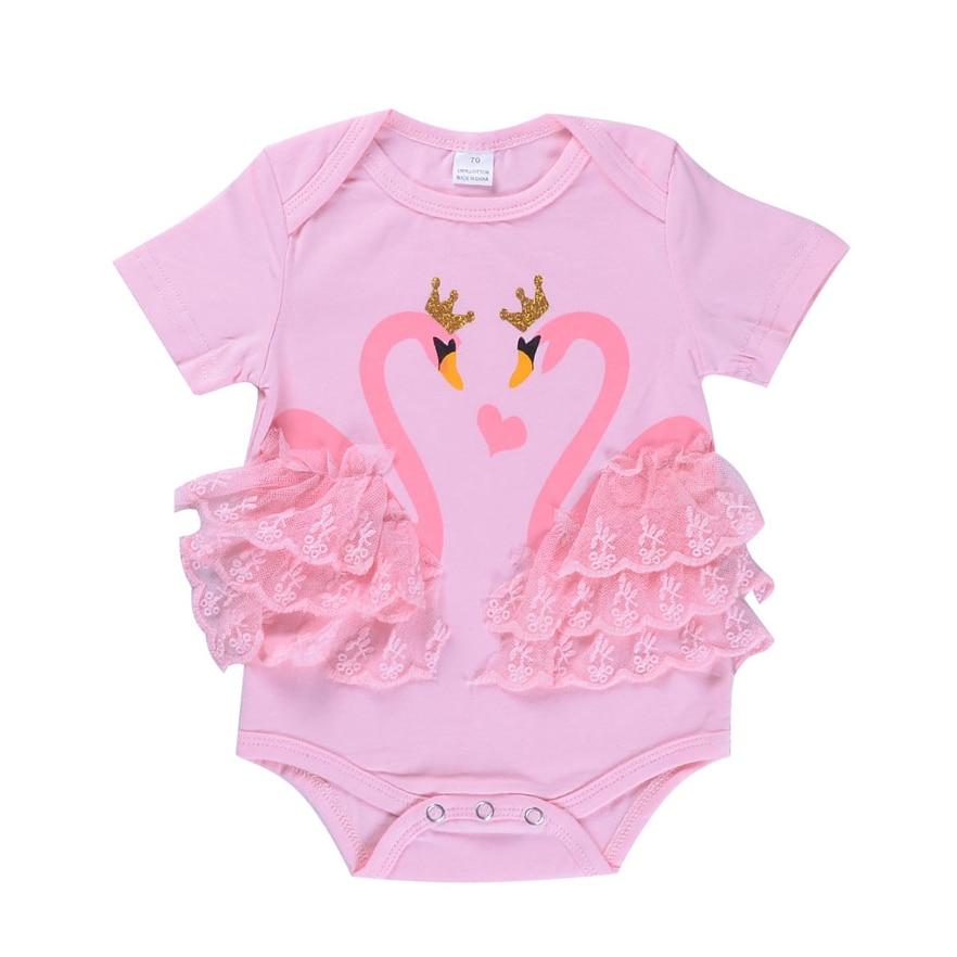 Baby Baby meisjes doek Lace Swan Romper 2 kleuren Cartoon Print - Babykleding - Foto 2