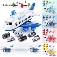 Large Size Music Story Simulation Track Inertia Children's Toy Aircraft Storage Passenger Plane Ploice Fire Rescue Music Toy Car
