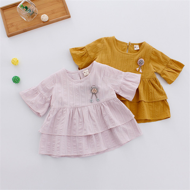 5bb24920f214 New Brand Baby Girl Dress Summer Short Sleeve Sweet Pink Princess ...