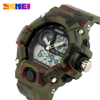 2014 SKMEI Brand Men Sports Watches 2 Time Zone Digital Quartz Watch Dive LED Electronic Multifunctional