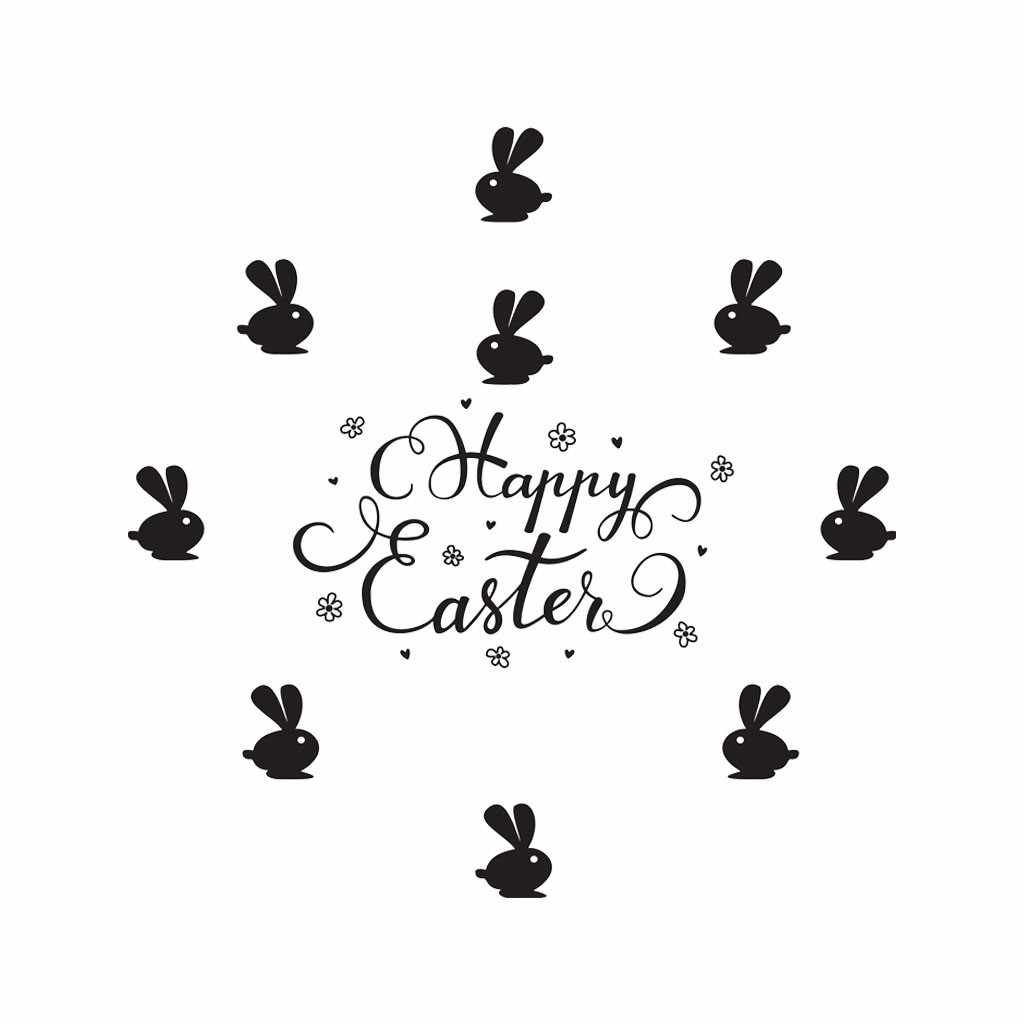 KAKUDER Happy Easter Bunny Sticker Decalcomanie Della Parete Casa Decorativo Conigli Creativo Adesivi Murali di Design Per La Cucina Decorazione Della Parete di 412 W