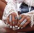 4 pçs/set Boho Conjunto Anel Midi Knuckle Anéis para As Mulheres Ciganas da Antiguidade Do Vintage de Prata Anel Da Jóia turca