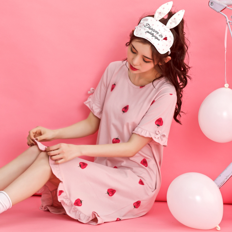 Women 100% Cotton   Nightgowns   Short Sleeve Summer Nightwear Dress Cute Rabbit Lounge Casual Sleepwear   Sleepshirt   Nightdress XXXL