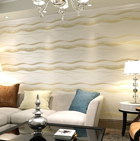 Beibehang высокого класса бумаги простой Стиль волны в полоску Papel де Parede тиснением текстурой Флокирование обои Tapete папье peint
