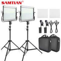 Luz de vídeo SAMTIAN L4500 2 Kit de luz de panel regulable 3200K 5500K con trípode para estudio YouTube fotografía iluminación LED