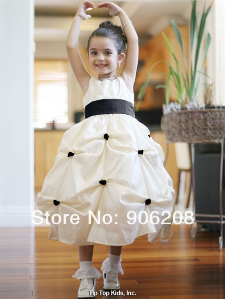 Fashion 215 new arrival High-end Pure white Big bow   flower     girl     dress   Exclusive Sales