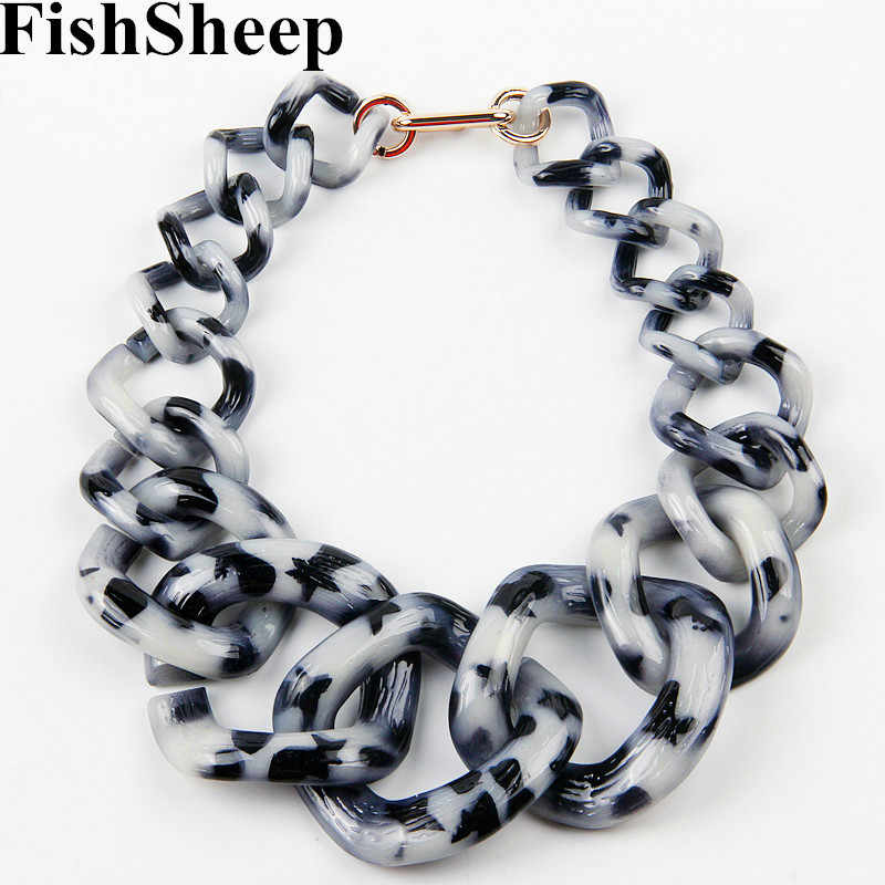 FishSheep Statement Big Choker Necklace For Women Vintage Acrylic Plastic Girls Chain Link Long Collar Necklaces & Pendants