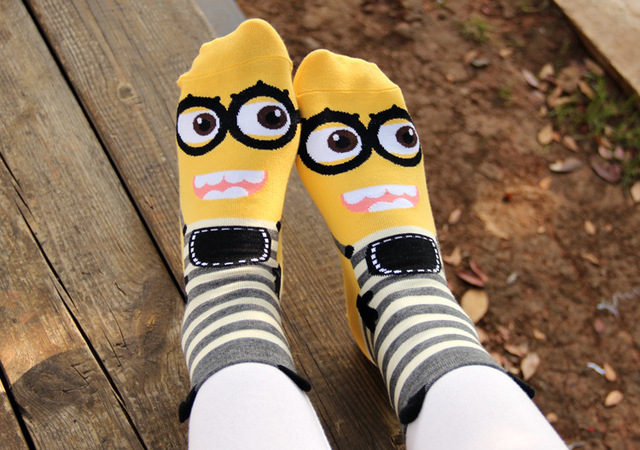 a6deca0913c Despicable Me Minions series of three dimensional cartoon lovely  comfortable soft cotton Women s girls casual short socks