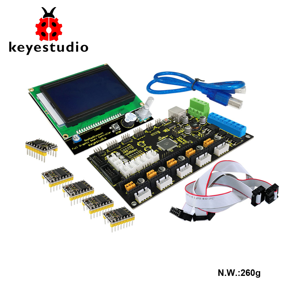 Keyestudio 3 D Printer Kit MKS GEN V1.2 ++ 5x 8825 Motor  + LCD 12864 Smart Controller