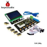 Keyestudio 3D Printer Kit MKS Base V1 2 5x 8825 LCD 12864 Smart Controller
