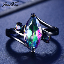 12 Color Unique Mystery Female Girls Rainbow Ring Fashion 14KT Black Gold Jewelry Bohemian Vintage Wedding Rings For Women elegant purple black gold filled cz ring gold colors flowers rings unique vintage party wedding for women christmas jewelry
