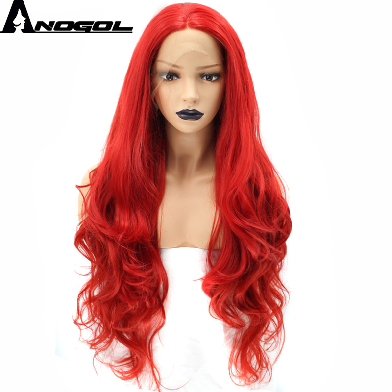Anogol High Temperature Fiber Peruca Perruque Red Full Hair Wigs Long Body Wave Synthetic Lace Front
