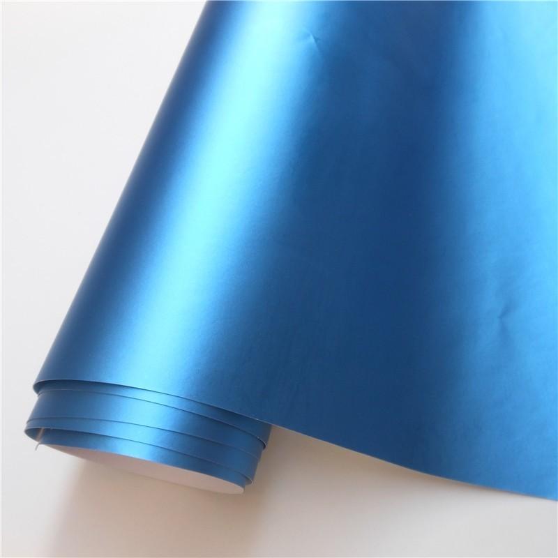 14 цветов, красный, синий, золотой, зеленый, фиолетовый матовый атлас, хром, виниловая пленка, наклейка, без пузырей, автомобильная пленка - Название цвета: Aluminum Blue