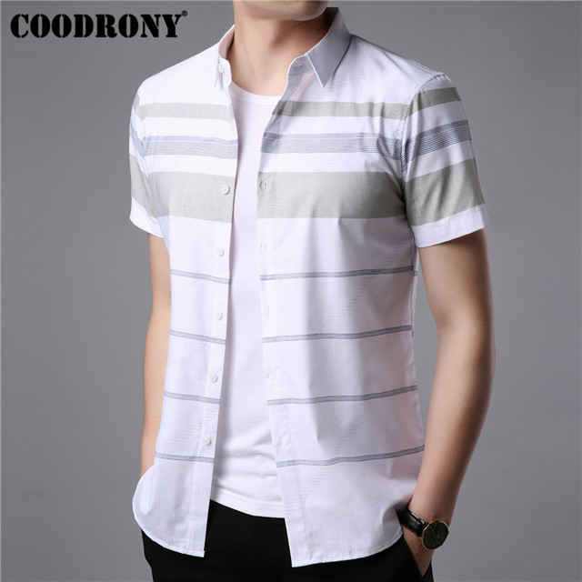 COODRONY Korte Mouw Mannen 2019 Summer Cool Casual Heren Shirts Streetwear Mode Gestreepte Camisa Masculina Plus Size S96036