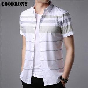 Image 1 - COODRONY kısa kollu gömlek erkekler 2019 yaz serin Casual erkek gömlek Streetwear moda çizgili Camisa Masculina artı boyutu S96036