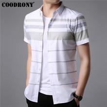 Coodrony camisa de manga curta masculina 2019 verão legal casual camisas dos homens streetwear moda listrado masculina plus size s96036