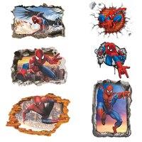 Pegatinas de pared con efecto 3d de spiderman para niños, calcomanías de dibujos animados para decoración del hogar, arte mural de pvc, regalos, novedad