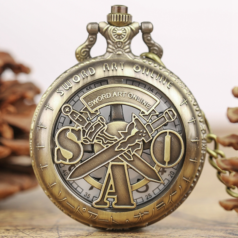 Vintage SAO Sword Art Online Quartz Pocket Watch Necklace Pendant For Kids Men Women Analog Chain Gifts Bronze Fob Clock Relogio