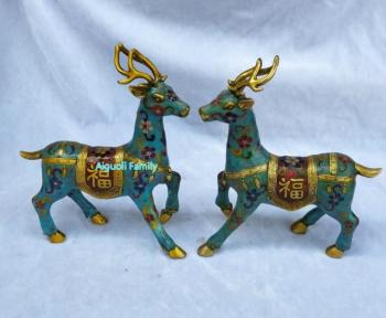 Art Collectible Chinese Old Cloisonne Bronze Carved 1 Pair Deer Statue/Home Decoration Animals Sculpture Good Gifts