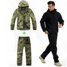Outdoor Sport Softshell Jackets+Pants Men Camping Hunting Clothes  Camouflage Military Tactical Sets Waterproof Hunting Suits man new winter waterproof fishing trousers tactical softshell hunting outdoor jackets set army suit military pants