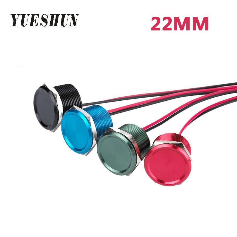 YUESHUN 22mm Piezo Switches Aluminum Touch On/Off waterproof IP68 switch Electrical Equipment NO Lamp Voltage Switch YUESHUN 22mm Piezo Switches Aluminum Touch On/Off waterproof IP68 switch Electrical Equipment NO Lamp Voltage Switch