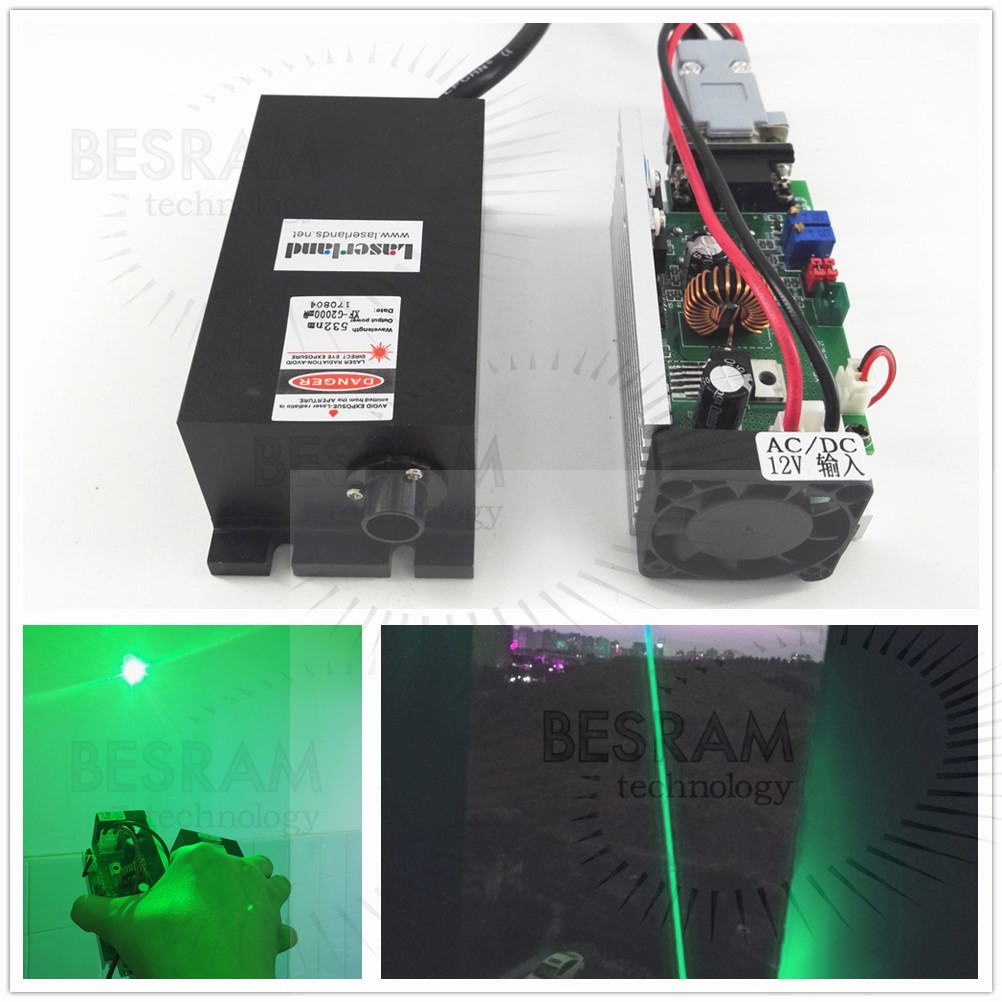 2W 520nm Green Laser Diode Module TTL/Analog Stage Lighting