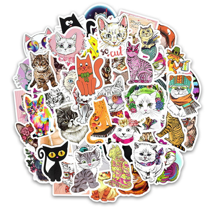 50Pcs Vinyl Cute Cat Stickers Cute Kitty Decals Stickers For Macbook Moto Car & Suitcase Laptop Stickers Skateboard Sticker