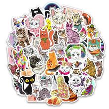 Adesivos gato bonito 50 peças, vinil bonito, decalques kitty, adesivos para macbook, moto, mala, laptop, skate, adesivo