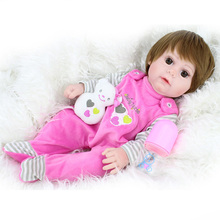 43cm short hair baby reborn Silicone dolls real cute doll vinyl lol 0-7 years old boy childrens best gift toy bebe