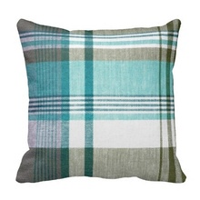Humid Blue Green Tartan Plaid Pillow Case (Size: 20″ by 20″) Free Shipping