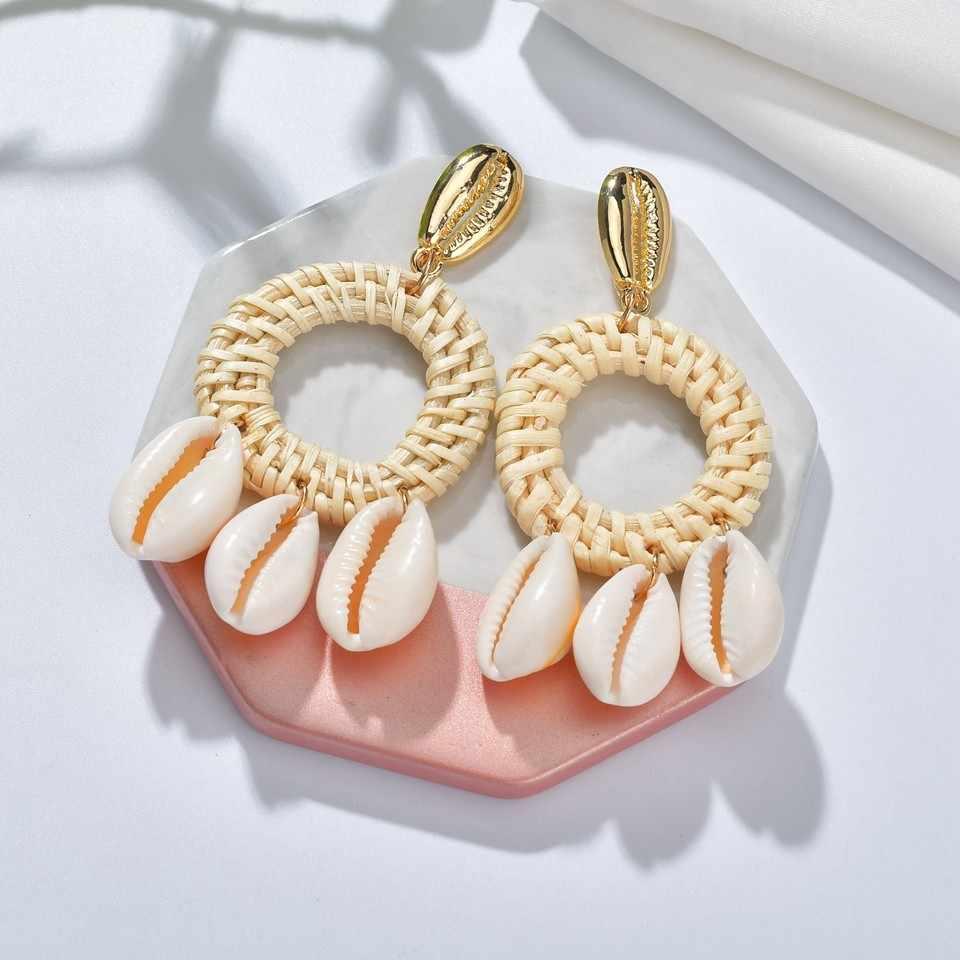 Bohemian DIY ไม้ฟางสานหวาย Drop ต่างหูหินธรรมชาติ Shell ปลาดาวต่างหูสำหรับผู้หญิง Boho ฤดูใบไม้ร่วงเครื่องประดับ