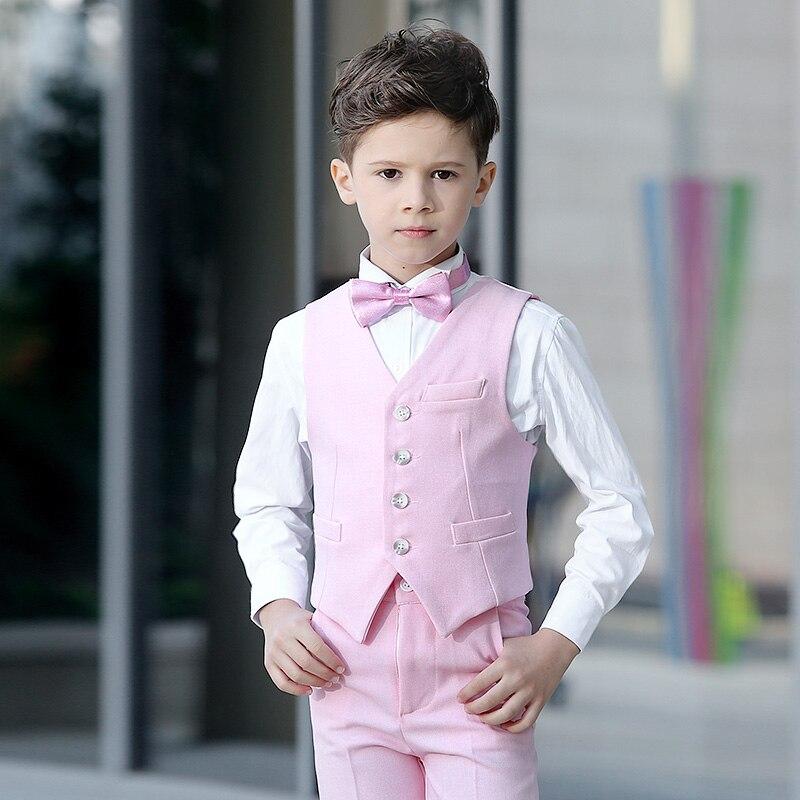Boy's Pink Handsome Suit 4pcs/Set Vest+Bowtie+Shirts+Pants Boys Wedding Party Performance Show Birthday Formal Blazers Suit Sets цена